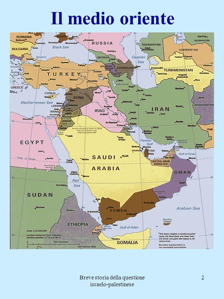 Breve storia della questione israelo-palestinese 2 Il medio oriente