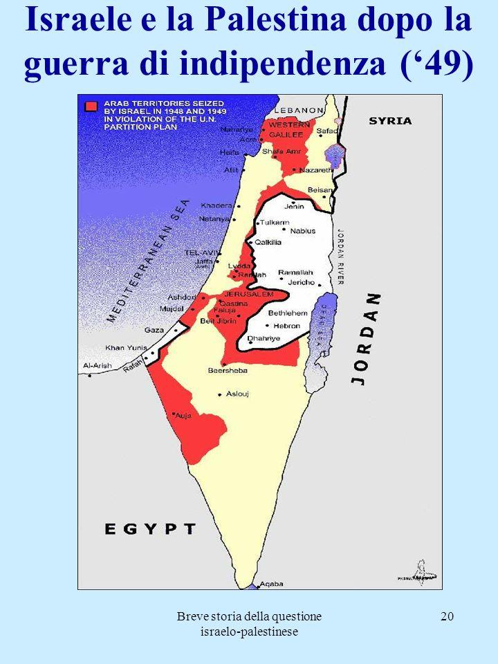 Breve storia della questione israelo-palestinese 20 Israele e la Palestina dopo la guerra di indipendenza (49)