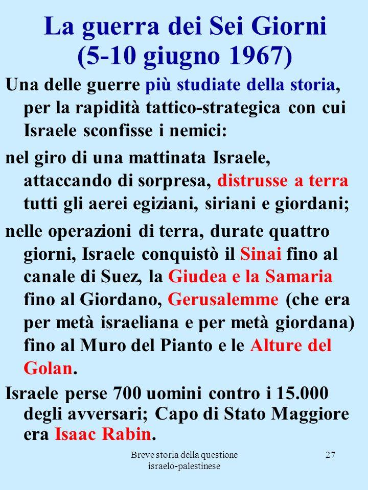 Breve storia della questione israelo-palestinese 27 La guerra dei Sei Giorni (5-10 giugno 1967) Una delle guerre più studiate della storia, per la rap