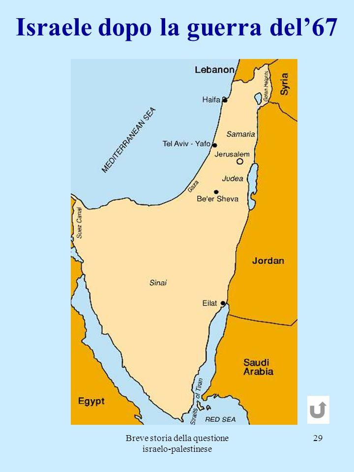 Breve storia della questione israelo-palestinese 29 Israele dopo la guerra del67
