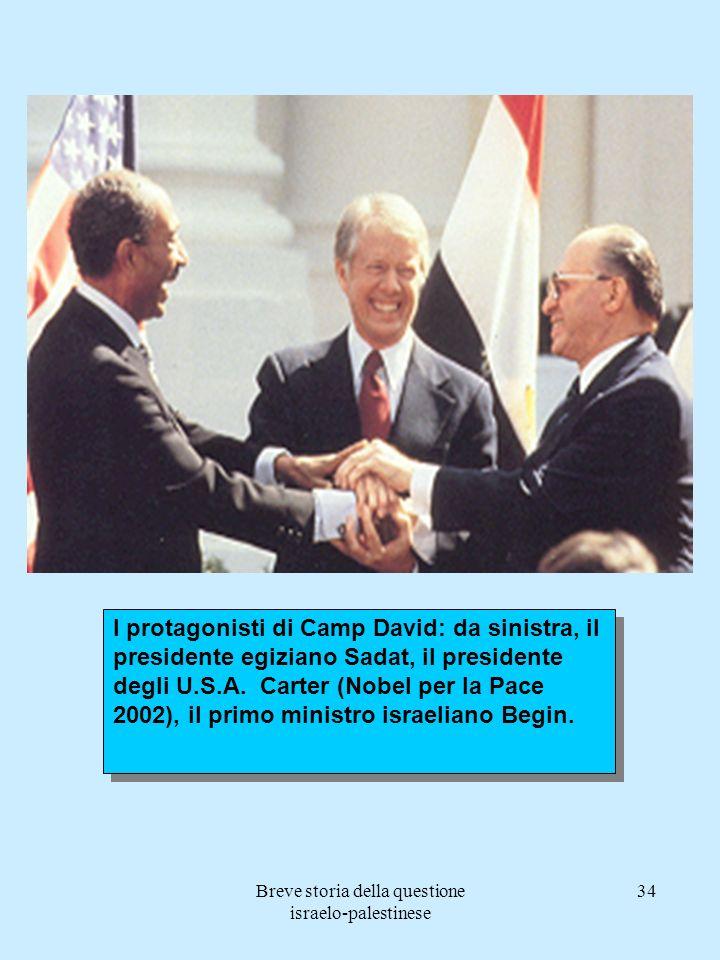 Breve storia della questione israelo-palestinese 34 I protagonisti di Camp David: da sinistra, il presidente egiziano Sadat, il presidente degli U.S.A