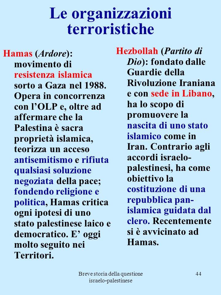 Breve storia della questione israelo-palestinese 44 Le organizzazioni terroristiche Hamas (Ardore): movimento di resistenza islamica sorto a Gaza nel