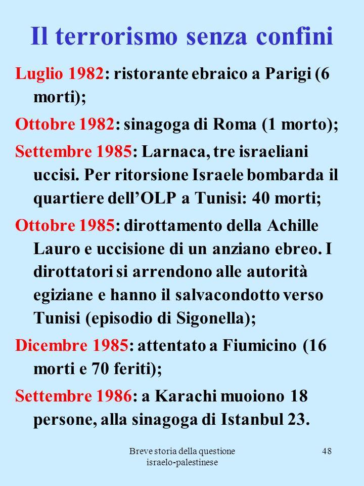 Breve storia della questione israelo-palestinese 48 Il terrorismo senza confini Luglio 1982: ristorante ebraico a Parigi (6 morti); Ottobre 1982: sina