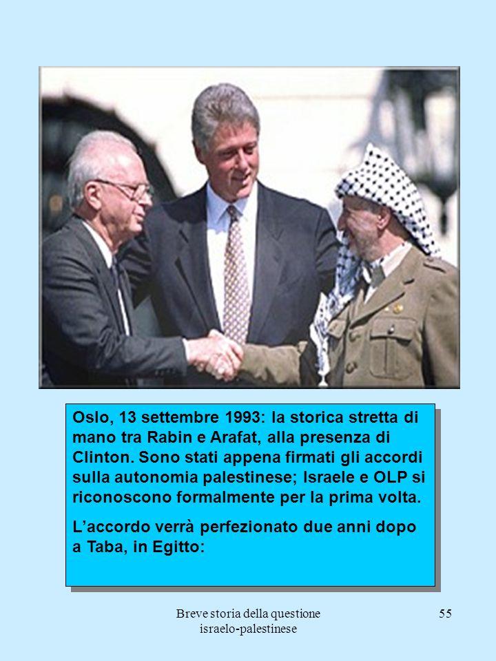 Breve storia della questione israelo-palestinese 55 Oslo, 13 settembre 1993: la storica stretta di mano tra Rabin e Arafat, alla presenza di Clinton.