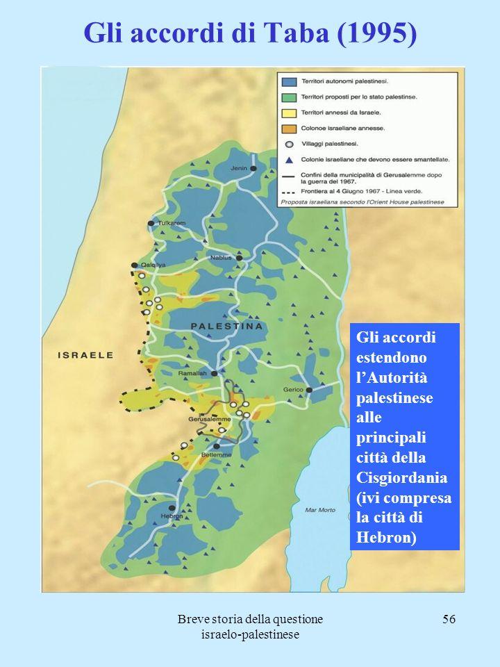Breve storia della questione israelo-palestinese 56 Gli accordi di Taba (1995) Gli accordi estendono lAutorità palestinese alle principali città della