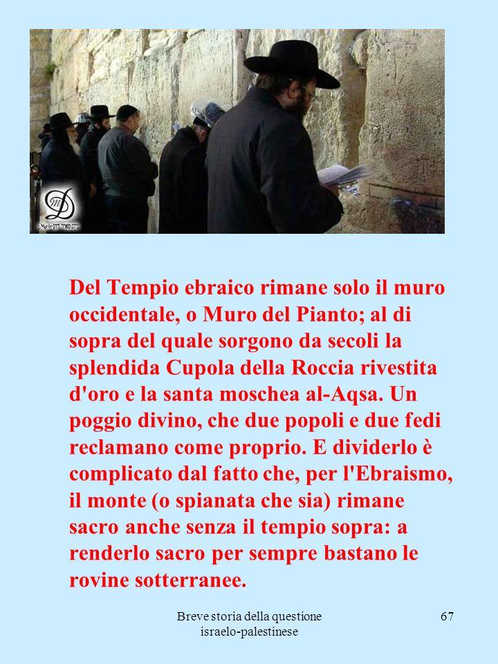 Breve storia della questione israelo-palestinese 67 Del Tempio ebraico rimane solo il muro occidentale, o Muro del Pianto; al di sopra del quale sorgo