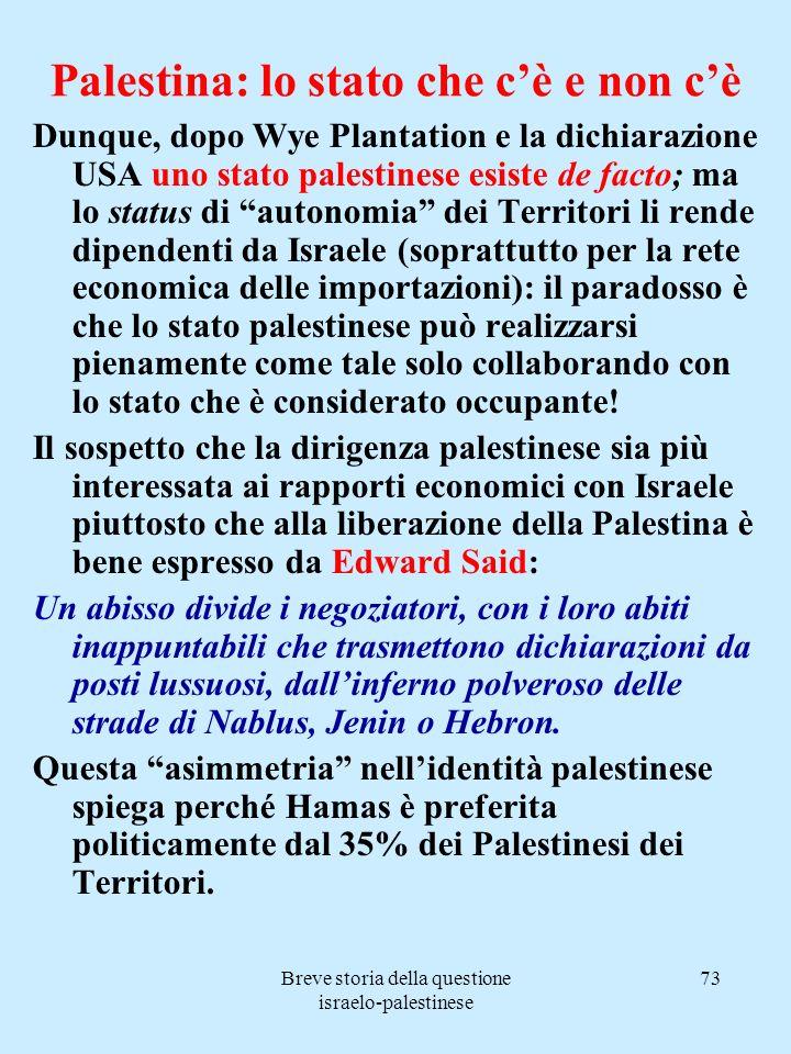 Breve storia della questione israelo-palestinese 73 Palestina: lo stato che cè e non cè Dunque, dopo Wye Plantation e la dichiarazione USA uno stato p