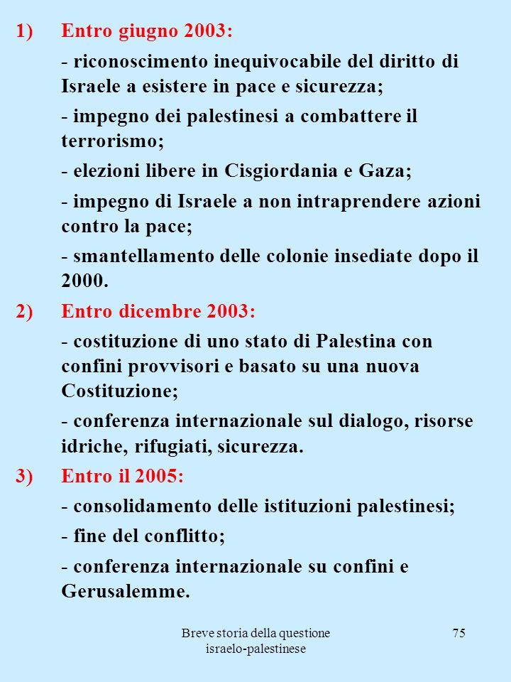 Breve storia della questione israelo-palestinese 75 1)Entro giugno 2003: - riconoscimento inequivocabile del diritto di Israele a esistere in pace e s