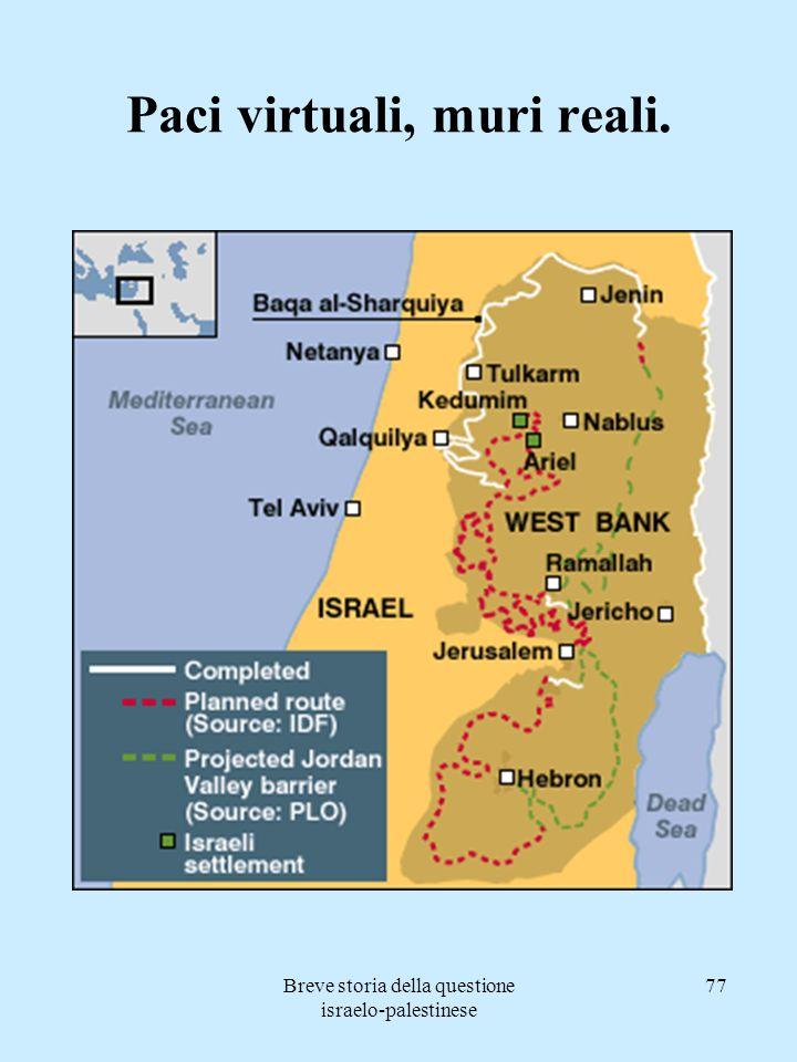 Breve storia della questione israelo-palestinese 77 Paci virtuali, muri reali.