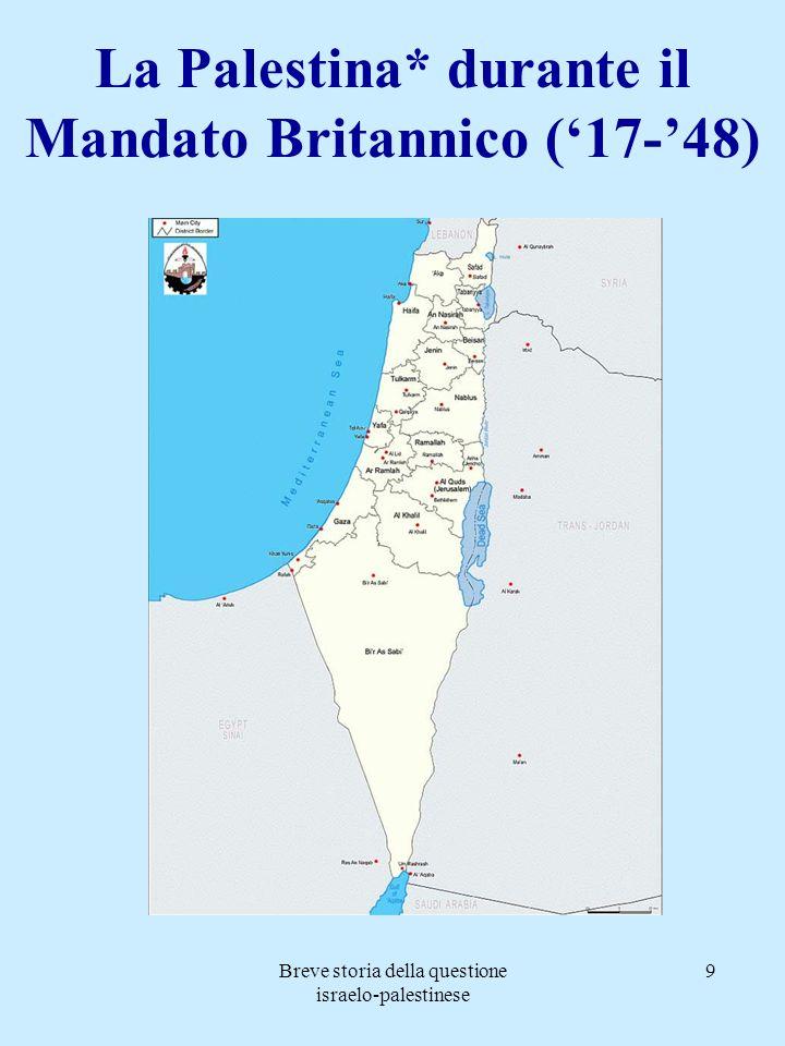 Breve storia della questione israelo-palestinese 9 La Palestina* durante il Mandato Britannico (17-48)