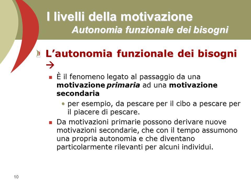 10 I livelli della motivazione Autonomia funzionale dei bisogni Lautonomia funzionale dei bisogni Lautonomia funzionale dei bisogni È il fenomeno lega