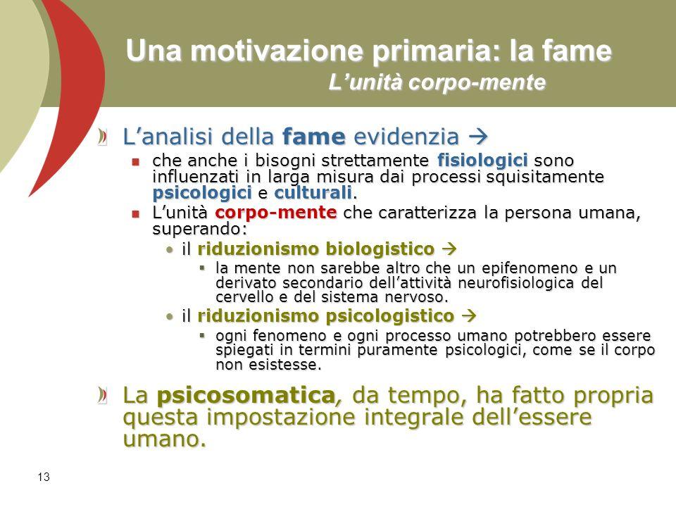 13 Una motivazione primaria: la fame Lunità corpo-mente Lanalisi della fame evidenzia Lanalisi della fame evidenzia che anche i bisogni strettamente f
