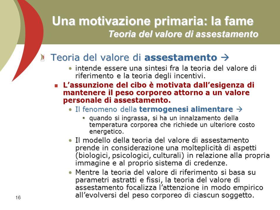 16 Una motivazione primaria: la fame Teoria del valore di assestamento Teoria del valore di assestamento Teoria del valore di assestamento intende ess