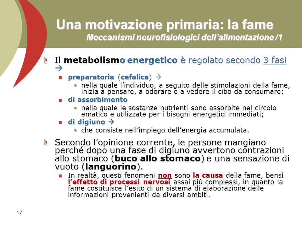 17 Una motivazione primaria: la fame Meccanismi neurofisiologici dellalimentazione /1 Il metabolismo energetico è regolato secondo 3 fasi Il metabolis
