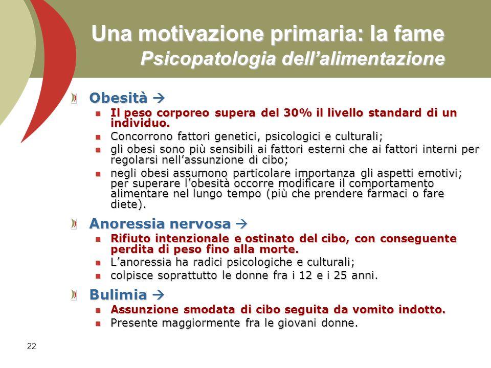22 Una motivazione primaria: la fame Psicopatologia dellalimentazione Obesità Obesità Il peso corporeo supera del 30% il livello standard di un indivi