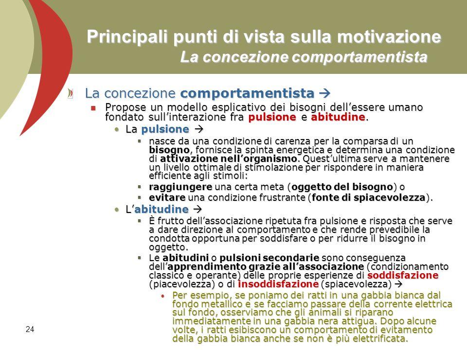 24 Principali punti di vista sulla motivazione La concezione comportamentista La concezione comportamentista La concezione comportamentista Propose un