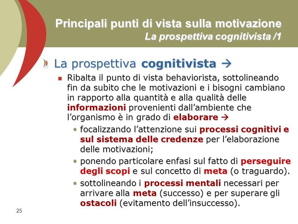 25 Principali punti di vista sulla motivazione La prospettiva cognitivista /1 La prospettiva cognitivista La prospettiva cognitivista Ribalta il punto