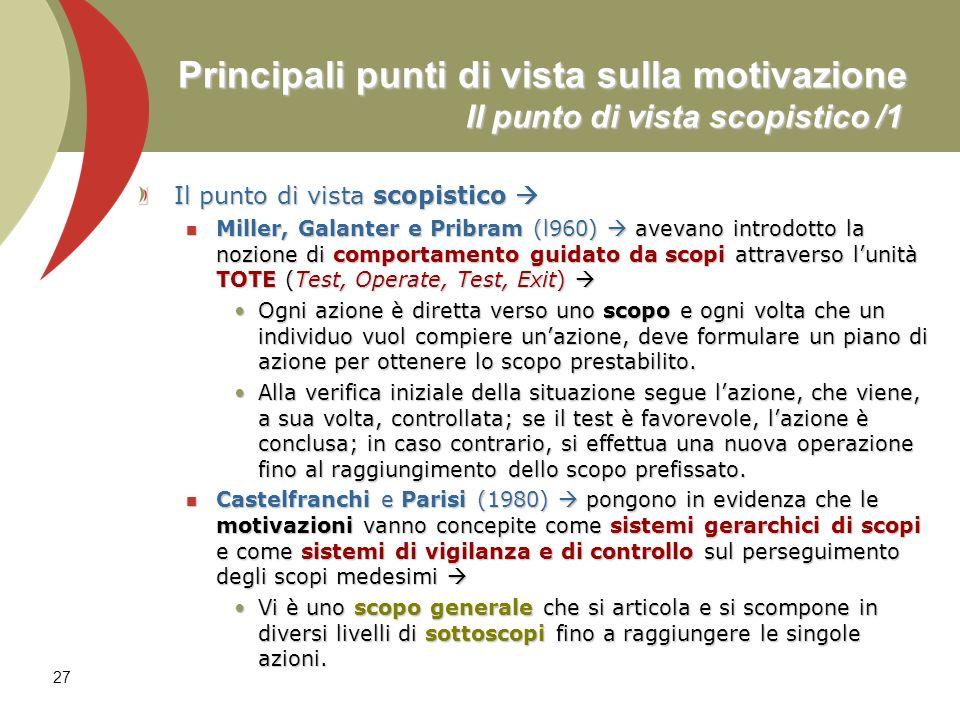 27 Principali punti di vista sulla motivazione Il punto di vista scopistico /1 Il punto di vista scopistico Il punto di vista scopistico Miller, Galan