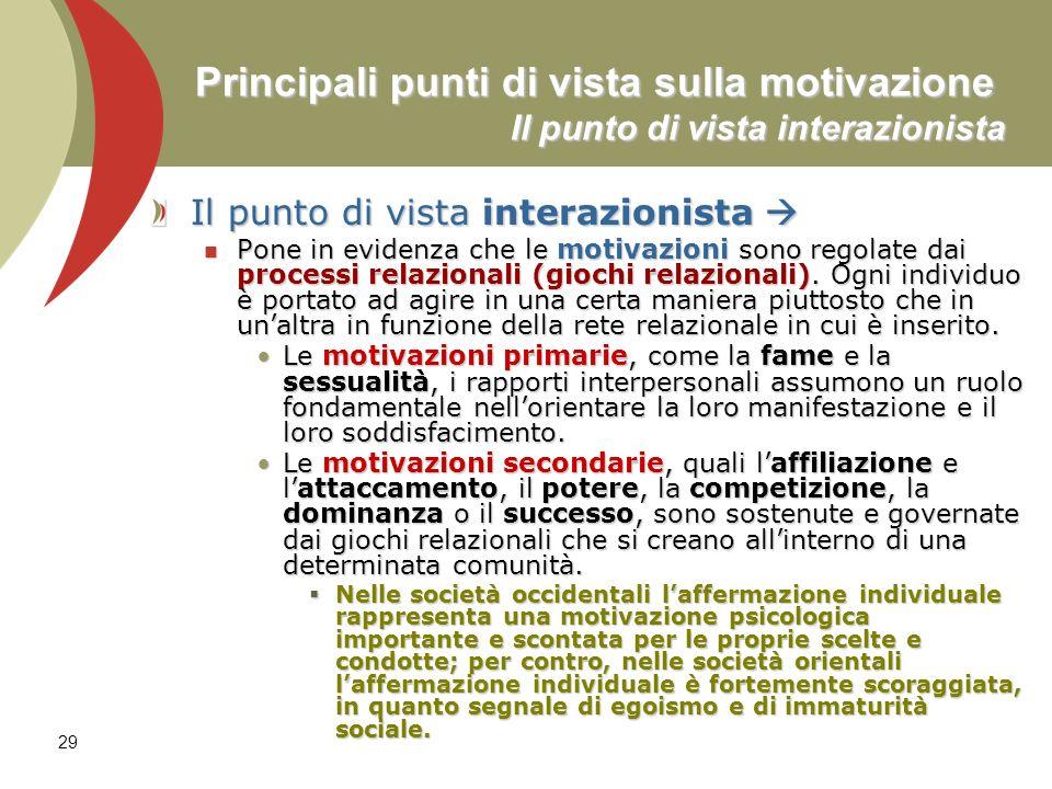 29 Principali punti di vista sulla motivazione Il punto di vista interazionista Il punto di vista interazionista Il punto di vista interazionista Pone