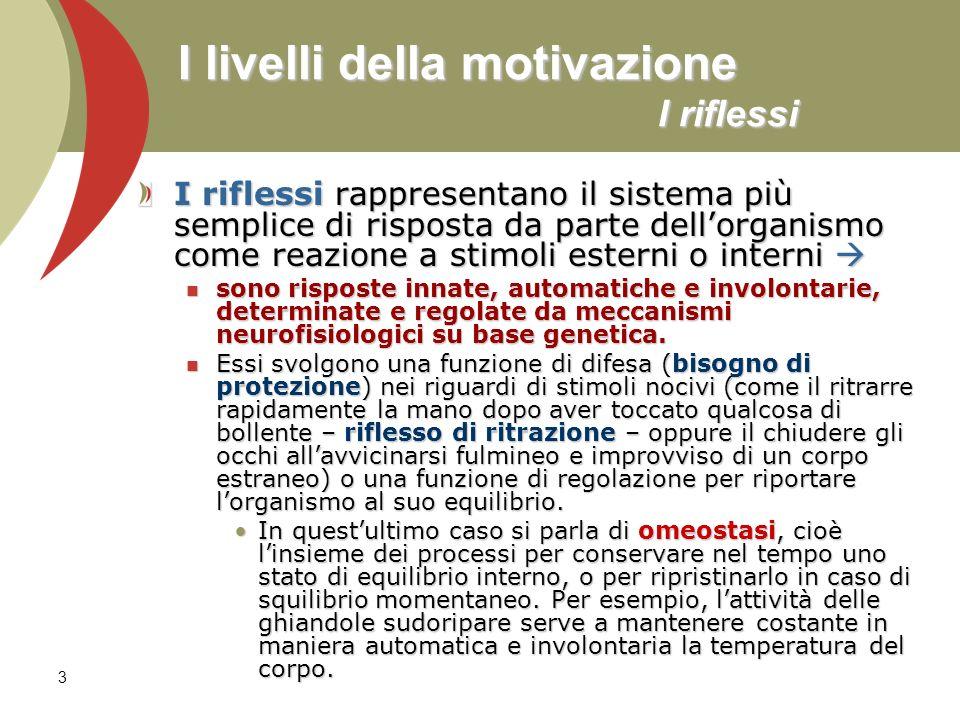 3 I livelli della motivazione I riflessi I riflessi rappresentano il sistema più semplice di risposta da parte dellorganismo come reazione a stimoli e