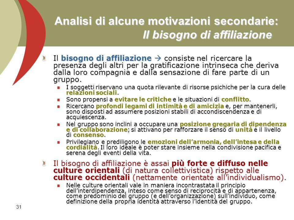 31 Analisi di alcune motivazioni secondarie: Il bisogno di affiliazione Il bisogno di affiliazione consiste nel ricercare la presenza degli altri per