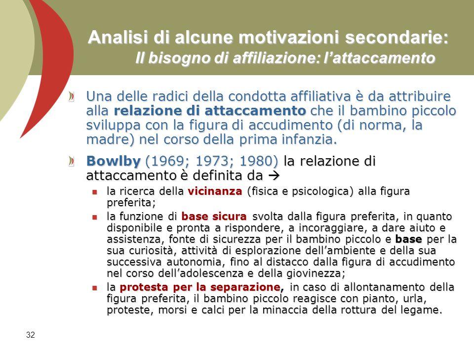 32 Analisi di alcune motivazioni secondarie: Il bisogno di affiliazione: lattaccamento Una delle radici della condotta affiliativa è da attribuire all