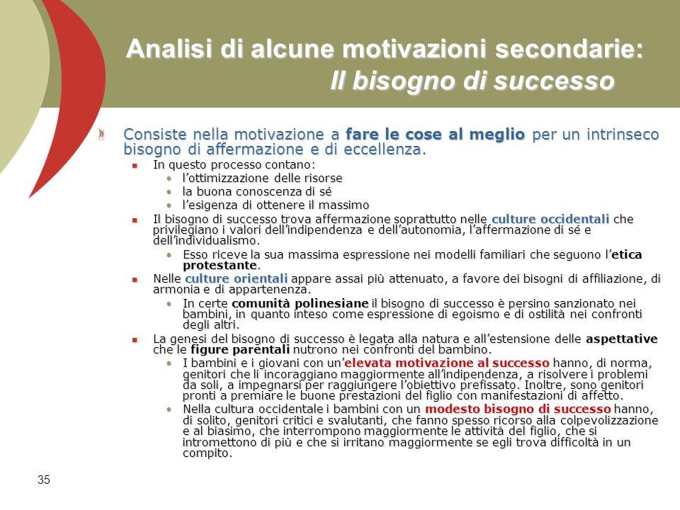 35 Analisi di alcune motivazioni secondarie: Il bisogno di successo Consiste nella motivazione a fare le cose al meglio per un intrinseco bisogno di a