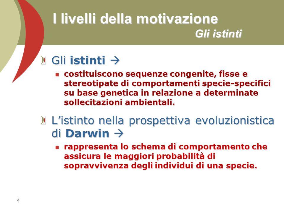 4 I livelli della motivazione Gli istinti Gli istinti Gli istinti costituiscono sequenze congenite, fisse e stereotipate di comportamenti specie-speci