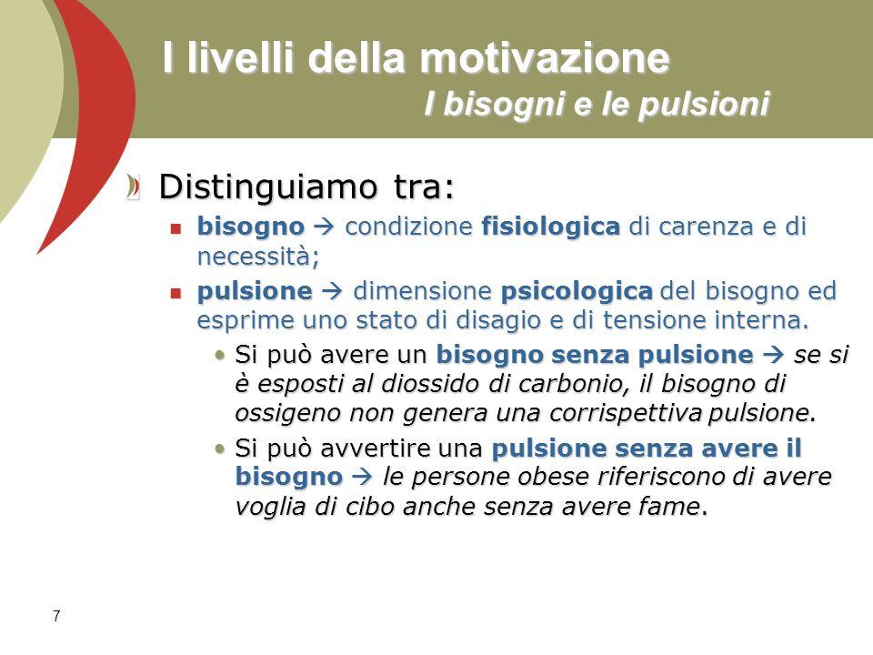 7 I livelli della motivazione I bisogni e le pulsioni Distinguiamo tra: bisogno condizione fisiologica di carenza e di necessità; bisogno condizione f