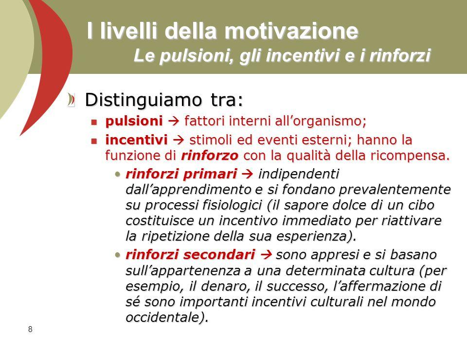 8 I livelli della motivazione Le pulsioni, gli incentivi e i rinforzi Distinguiamo tra: pulsioni fattori interni allorganismo; pulsioni fattori intern