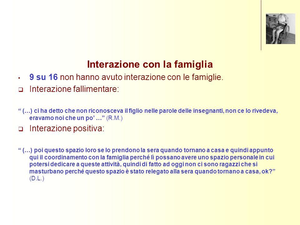 Interazione con la famiglia 9 su 16 non hanno avuto interazione con le famiglie. Interazione fallimentare: (…) ci ha detto che non riconosceva il figl
