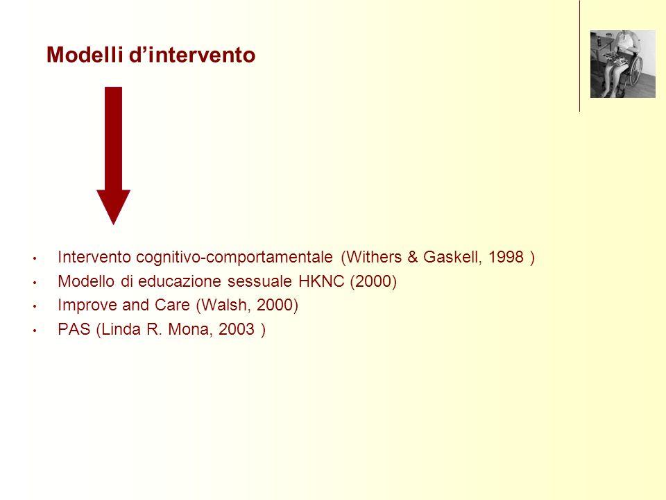 Intervento cognitivo-comportamentale (Withers & Gaskell, 1998 ) Modello di educazione sessuale HKNC (2000) Improve and Care (Walsh, 2000) PAS (Linda R