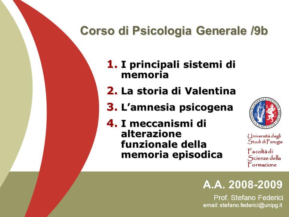 22 Amnesia psicogena 1/3 La memoria non è un sistema unitario, ma consiste di diversi sottosistemi che si sviluppano in maniera separata Un riprova è data dal fatto che possono essere danneggiati selettivamente da patologie neurologiche.
