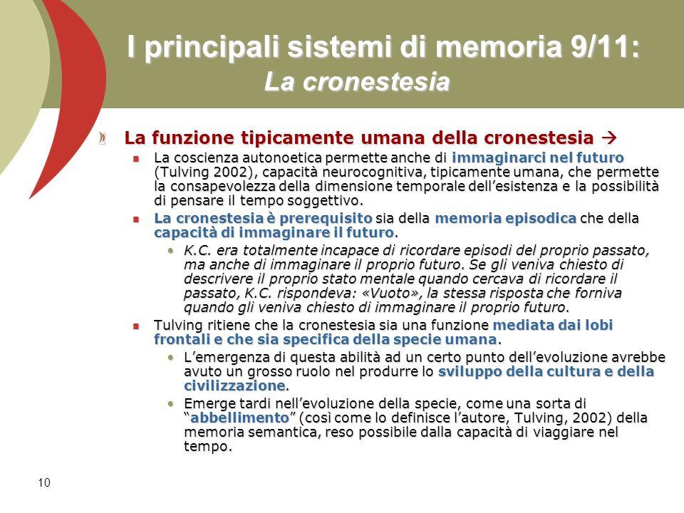 10 I principali sistemi di memoria 9/11: La cronestesia La funzione tipicamente umana della cronestesia La funzione tipicamente umana della cronestesi