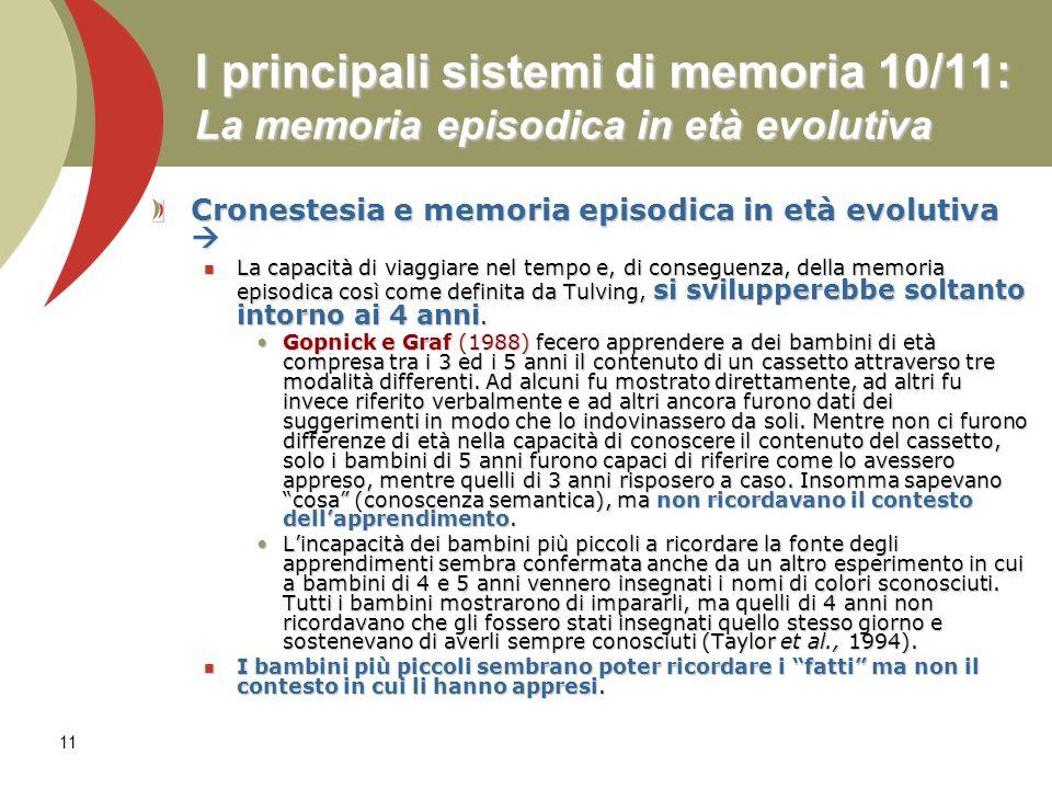 11 I principali sistemi di memoria 10/11: La memoria episodica in età evolutiva Cronestesia e memoria episodica in età evolutiva Cronestesia e memoria