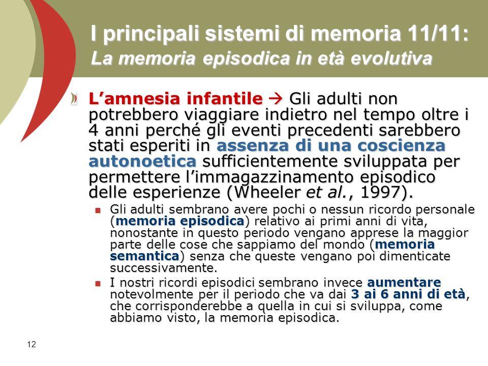 12 I principali sistemi di memoria 11/11: La memoria episodica in età evolutiva Lamnesia infantile Gli adulti non potrebbero viaggiare indietro nel te