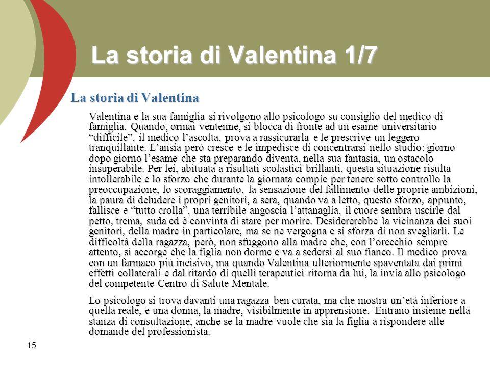 15 La storia di Valentina 1/7 La storia di Valentina Valentina e la sua famiglia si rivolgono allo psicologo su consiglio del medico di famiglia. Quan