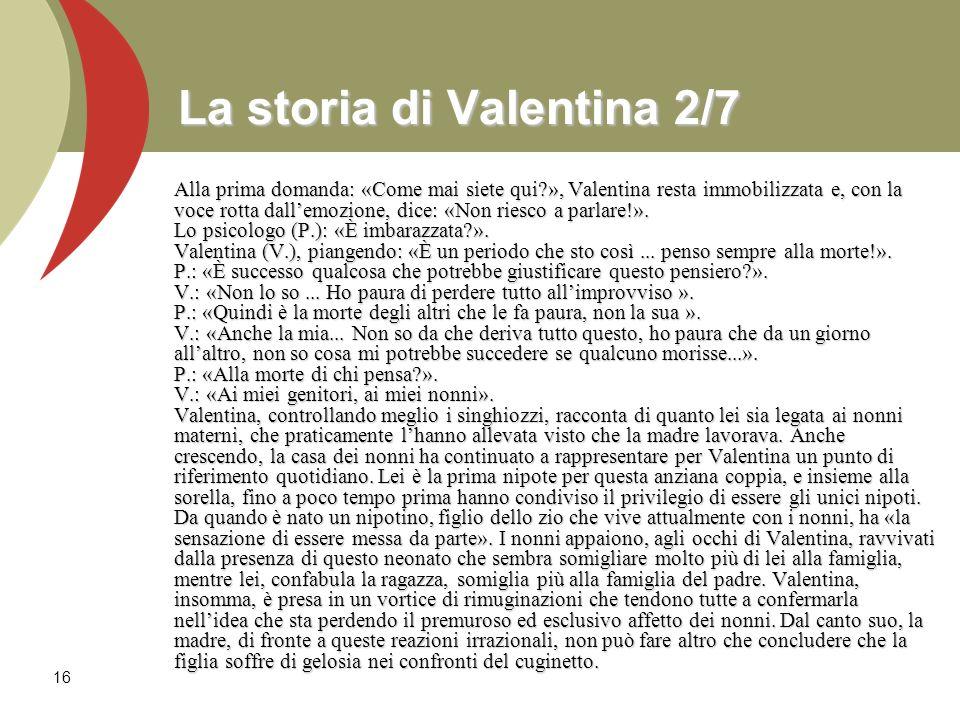 16 La storia di Valentina 2/7 Alla prima domanda: «Come mai siete qui?», Valentina resta immobilizzata e, con la voce rotta dallemozione, dice: «Non r