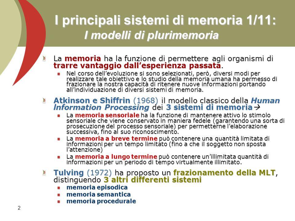 2 I principali sistemi di memoria 1/11: I modelli di plurimemoria La memoria ha la funzione di permettere agli organismi di trarre vantaggio dallesper