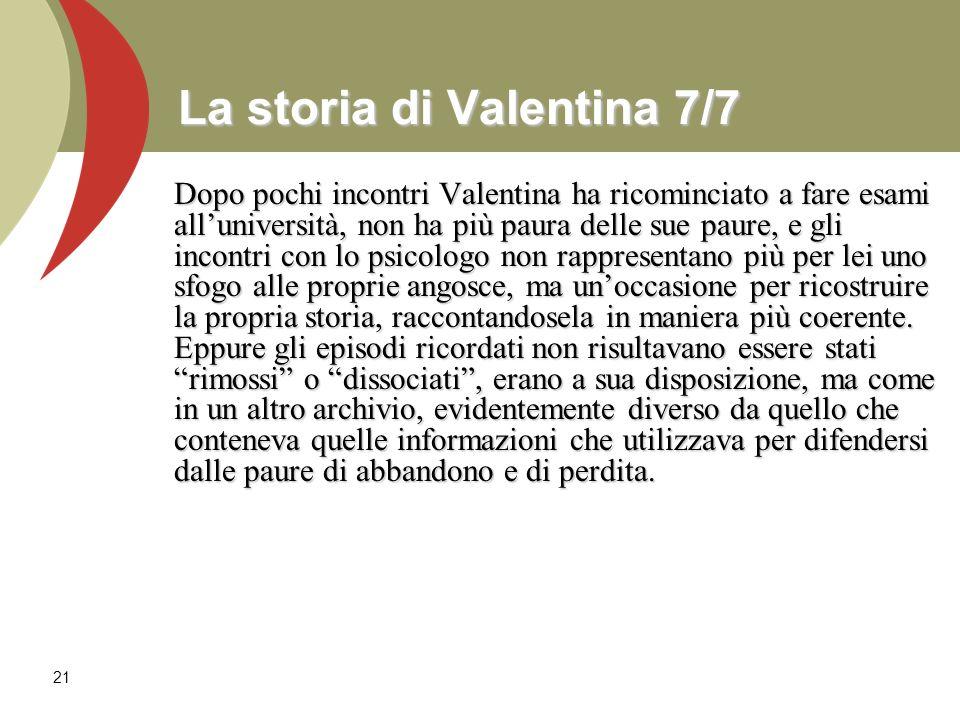 21 La storia di Valentina 7/7 Dopo pochi incontri Valentina ha ricominciato a fare esami alluniversità, non ha più paura delle sue paure, e gli incont