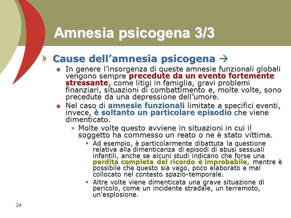 24 Amnesia psicogena 3/3 Cause dellamnesia psicogena Cause dellamnesia psicogena In genere linsorgenza di queste amnesie funzionali globali vengono se