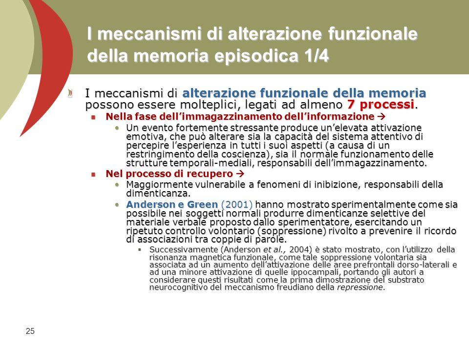 25 I meccanismi di alterazione funzionale della memoria episodica 1/4 I meccanismi di alterazione funzionale della memoria possono essere molteplici,