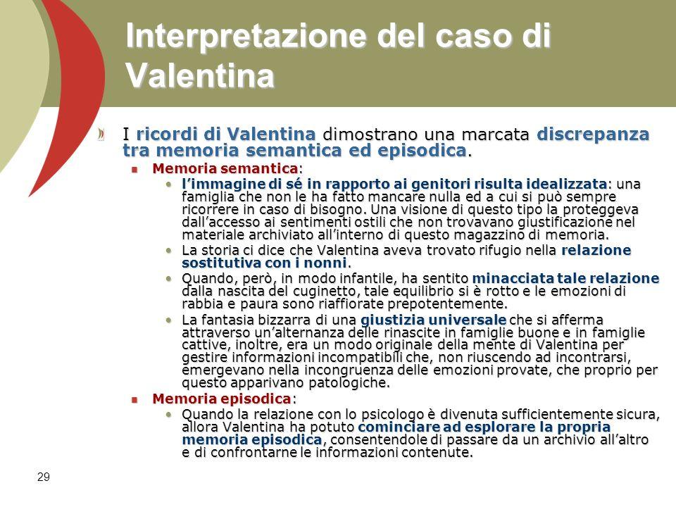 29 Interpretazione del caso di Valentina I ricordi di Valentina dimostrano una marcata discrepanza tra memoria semantica ed episodica. Memoria semanti