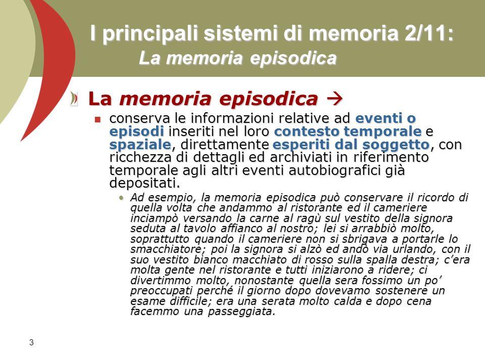 3 I principali sistemi di memoria 2/11: La memoria episodica La memoria episodica La memoria episodica conserva le informazioni relative ad eventi o e