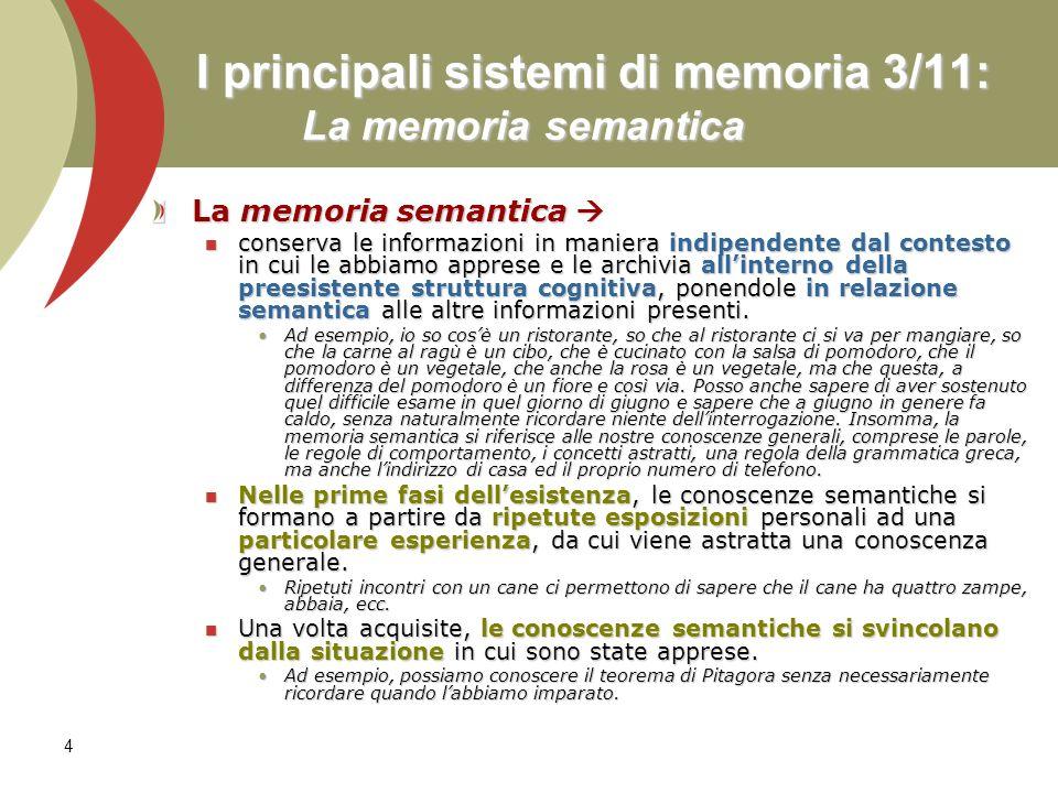 4 I principali sistemi di memoria 3/11: La memoria semantica La memoria semantica La memoria semantica conserva le informazioni in maniera indipendent