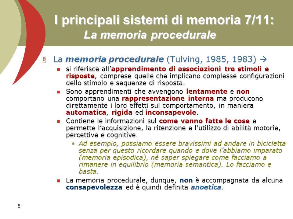 8 I principali sistemi di memoria 7/11: La memoria procedurale La memoria procedurale (Tulving, 1985, 1983) La memoria procedurale (Tulving, 1985, 198
