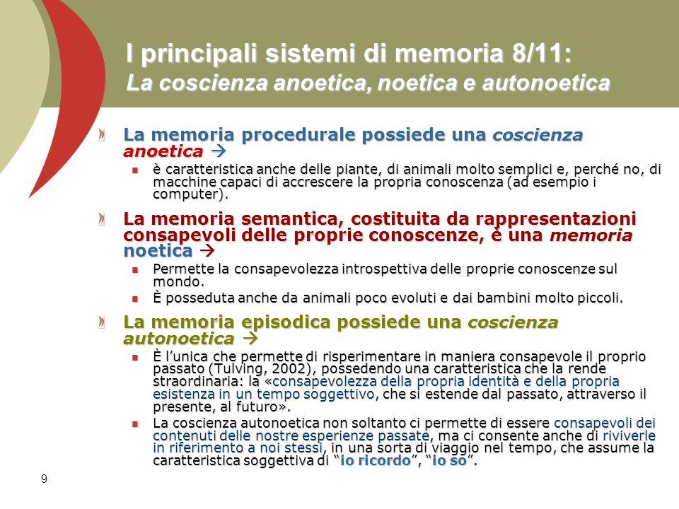 9 I principali sistemi di memoria 8/11: La coscienza anoetica, noetica e autonoetica La memoria procedurale possiede una coscienza anoetica La memoria