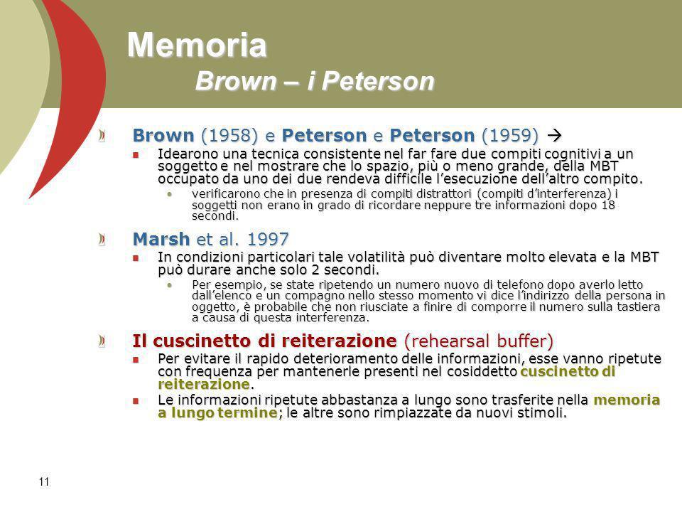 11 Memoria Brown – i Peterson Brown (1958) e Peterson e Peterson (1959) Brown (1958) e Peterson e Peterson (1959) Idearono una tecnica consistente nel