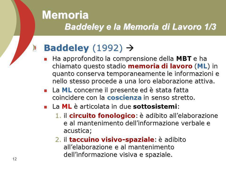 12 Memoria Baddeley e la Memoria di Lavoro 1/3 Baddeley (1992) Baddeley (1992) Ha approfondito la comprensione della MBT e ha chiamato questo stadio m