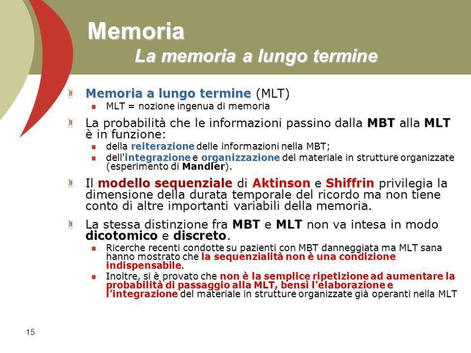 15 Memoria La memoria a lungo termine Memoria a lungo termine (MLT) MLT = nozione ingenua di memoria MLT = nozione ingenua di memoria La probabilità c
